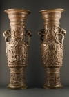 B3-1 Pair of tall bronze vases
