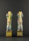 C34-3 Polychrome Fu Lion statues