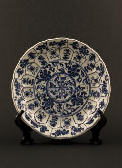 C11-1 Blue white lobed dish