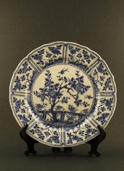 C16-1 Blue white paneled dish