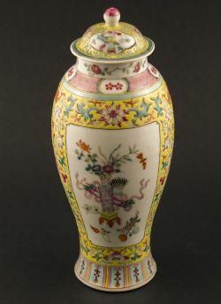 C35-1 Yellow ground Meiping vase