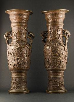 B3-1 Pair of tall bronze vases