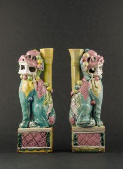 C34-1 Polychrome Fu Lion statues